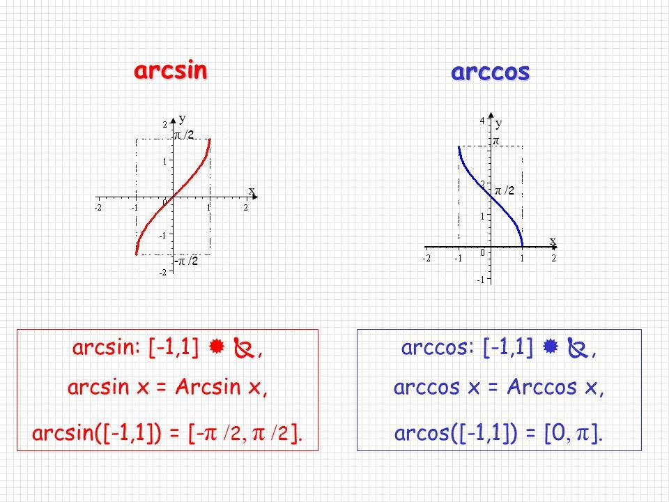 arcsin arccos arcsin: [-1,1]  , arcsin x = Arcsin x,